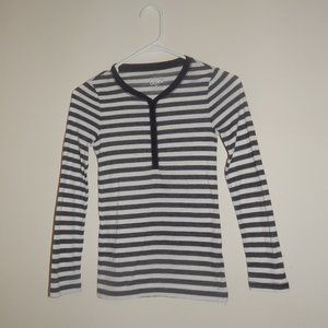 JUSTICE GIRLS RIBBED, BLK/WHT, STRIPED HENLEY TOP